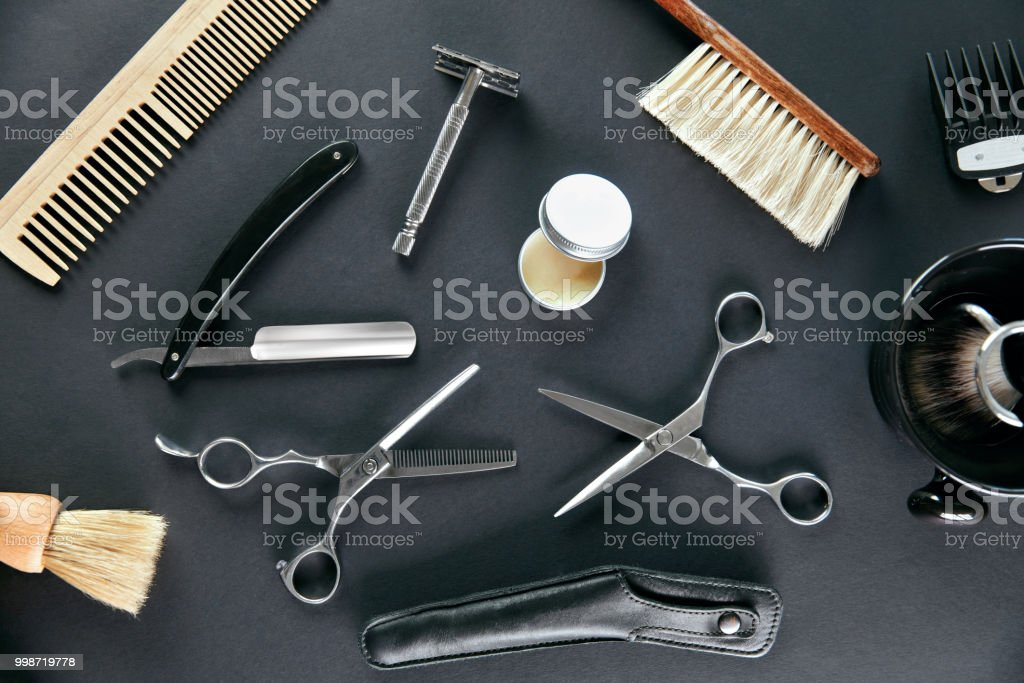 Barber Shop Tools And Equipment. Men's Grooming Tools stock photo
