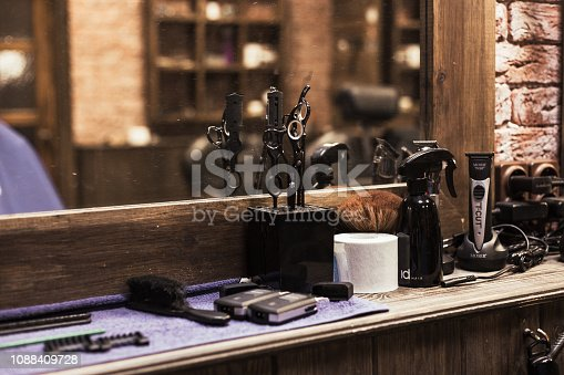 istock Barber Shop Tools And Equipment 1088409728