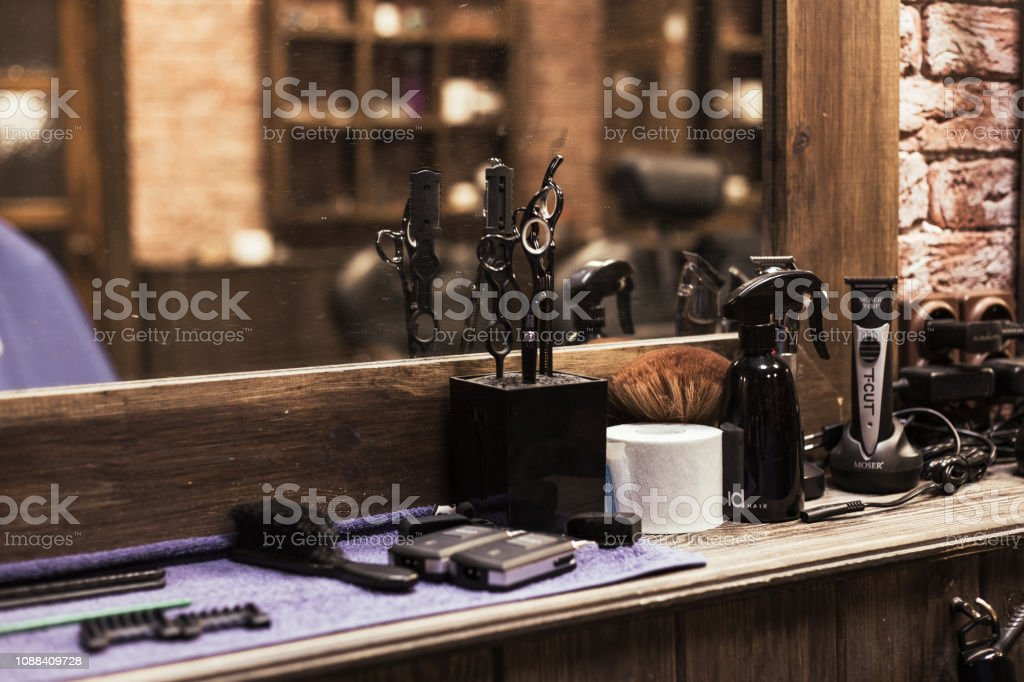 Barber Shop Tools And Equipment stock photo