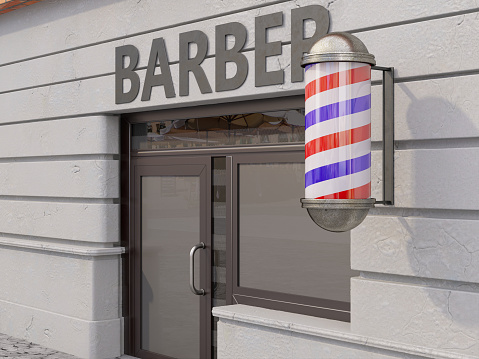 Barber Shop with Sign