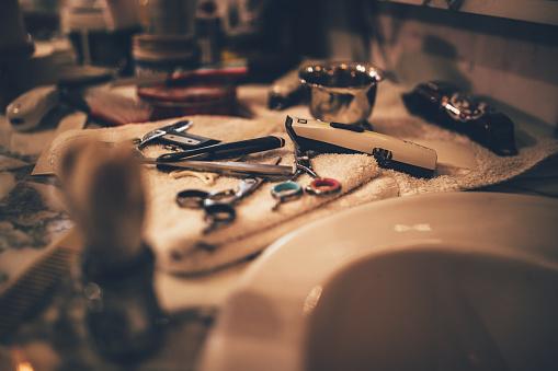 Barber vintage tools for beard grooming in retro barber shop