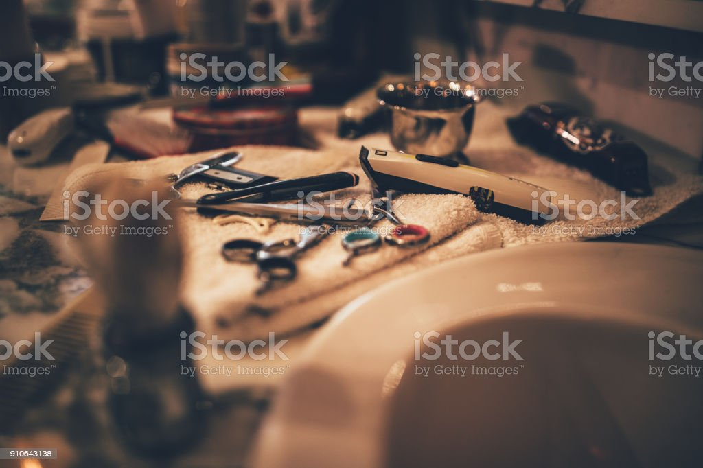 Barber vintage tools for beard grooming in retro barber shop stock photo