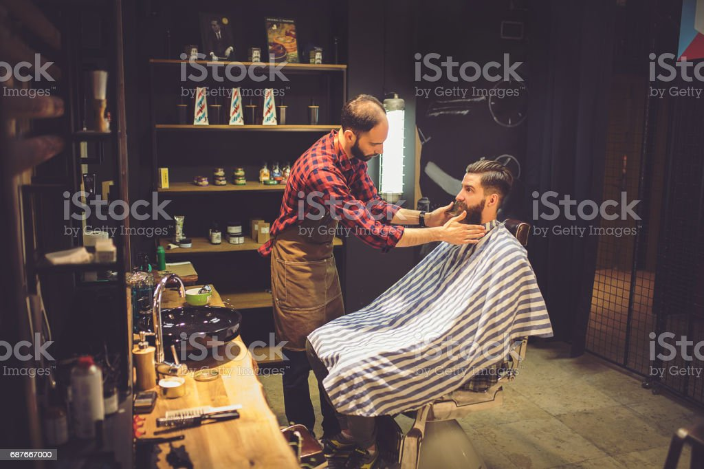 Barber-Client Consultation stock photo