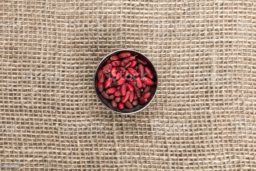 Barberry on sackcloth stock photo