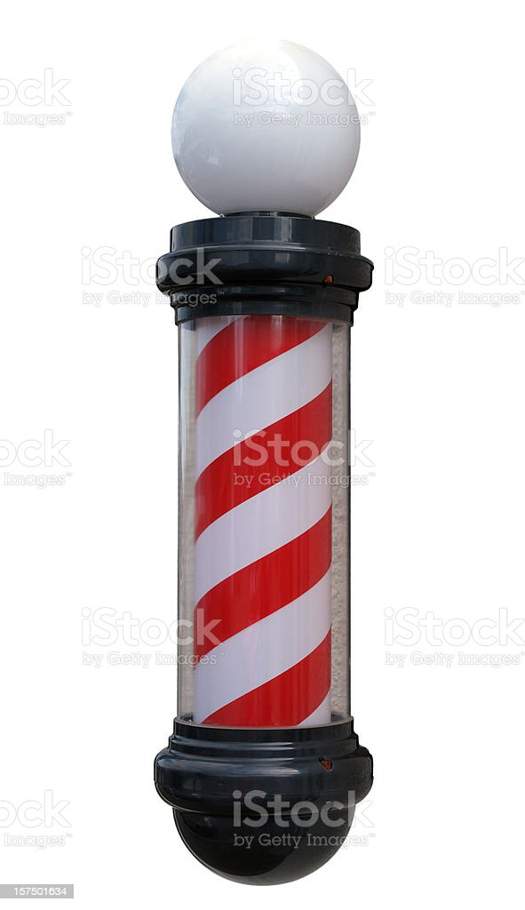 Barber's Pole Isolated on White stock photo