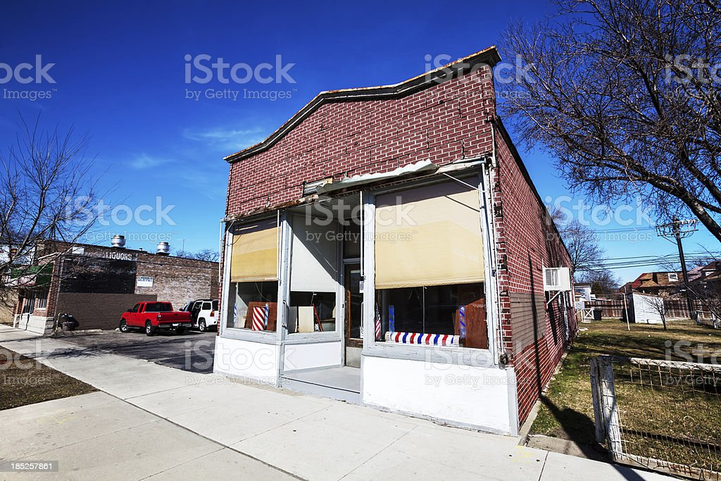 Barbers Shop in West Lawn, Chicago royalty-free stock photo