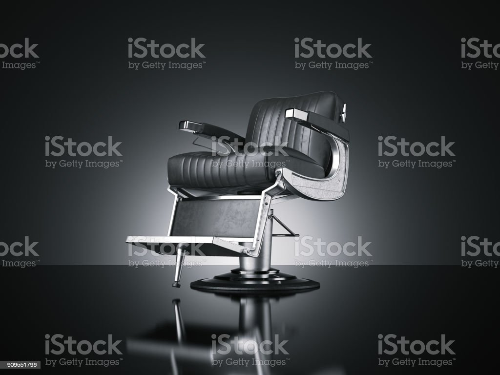 Barbershop chair isolated dark background. 3d rendering stock photo