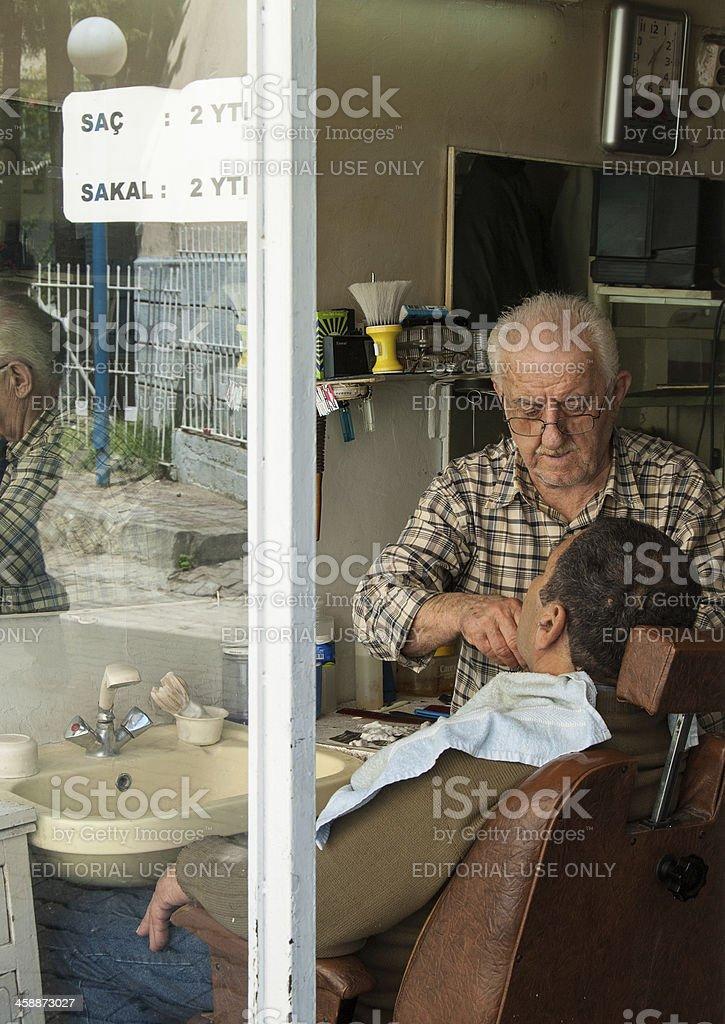 Barbershop in Izmir, Turkey stock photo