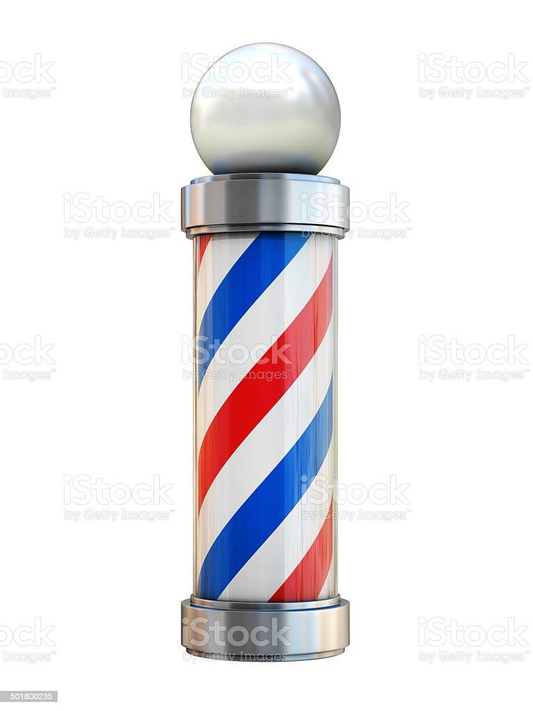 barbershop pole isolated on white stock photo