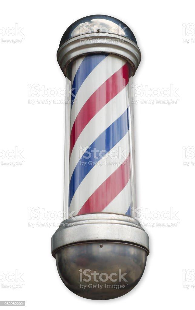 barbershop pole retro striped men hairdresser sign on white background stock photo