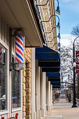 Barbershop sign in small town business district