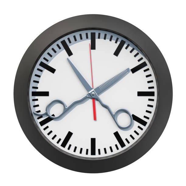 Barbershop Time concept. Clock face with scissors, 3D rendering isolated on white background stock photo