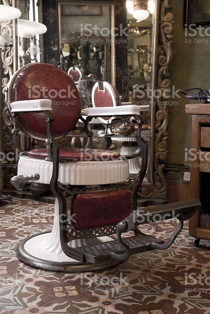 Barbershop with floral floor design stock photo
