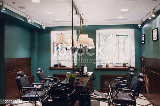 istock Barbershop with wooden interior 1022249068