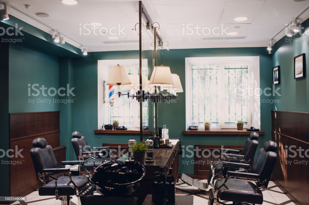 Barbershop with wooden interior stock photo
