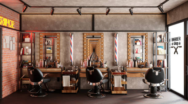 barbershop working place interior 3d illustration stock photo