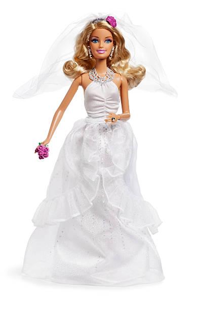barbie braut auf weiß - barbiekleidung stock-fotos und bilder