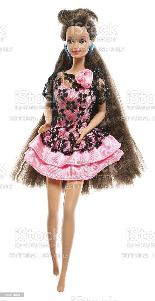 Barbie Doll with Long Brunette Hair stock photo