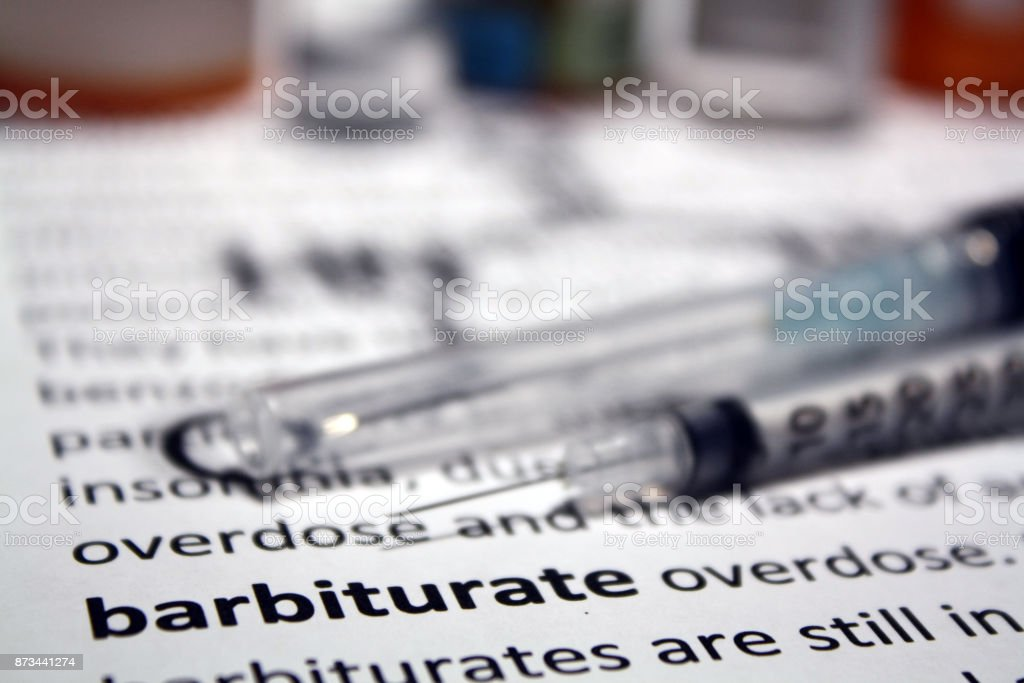 Barbiturate injection stock photo