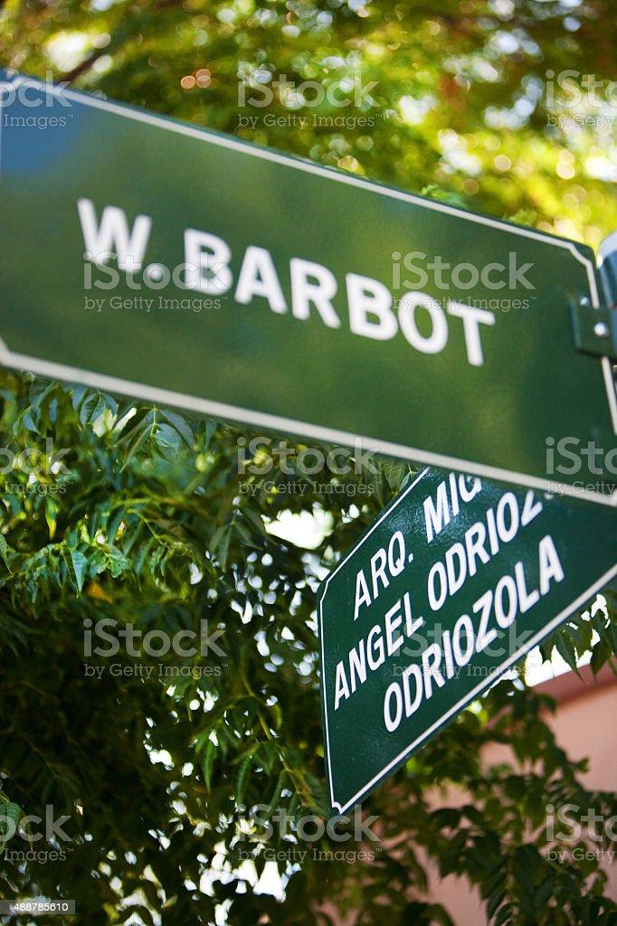 W. Barbot placa de rua em Colonia del Sacramento, Uruguai - foto de acervo