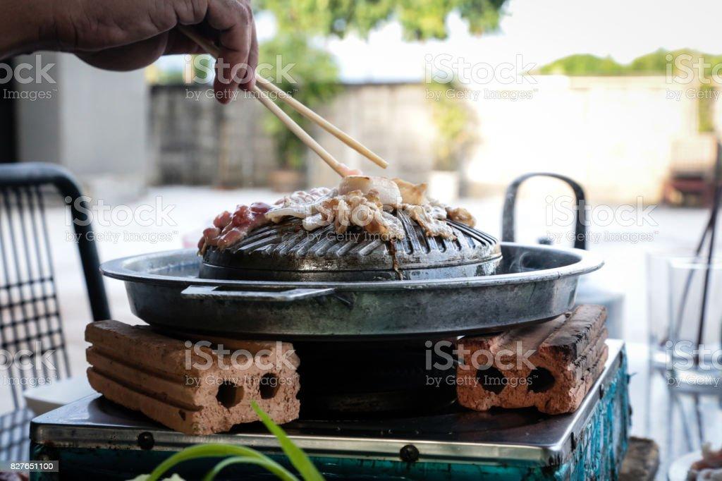 Bar-B-Q o cerdo a la parrilla en estilo coreano. - foto de stock
