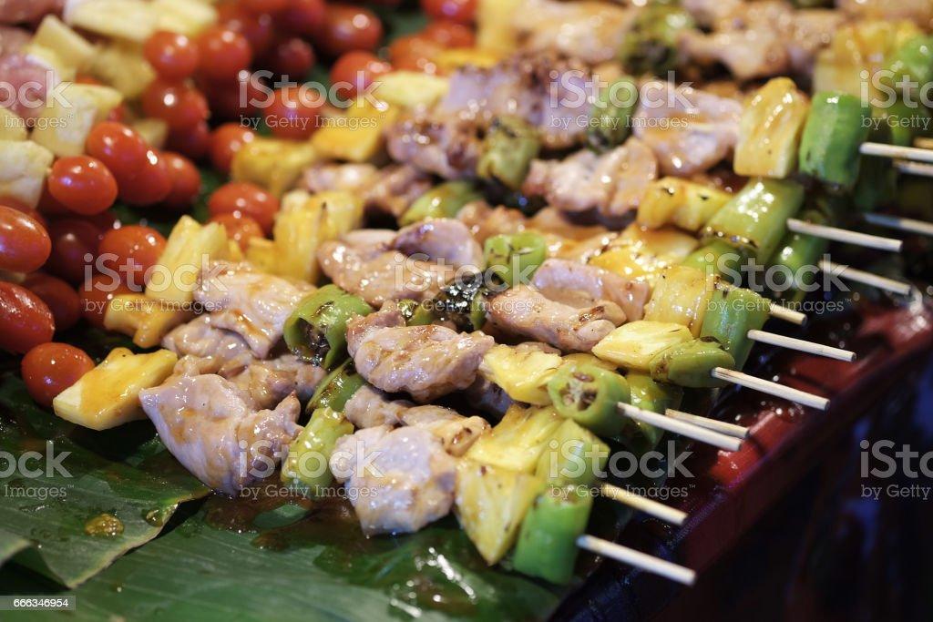 Bar-B-Q,Barbeque Grill Street Food in thailand - foto de stock