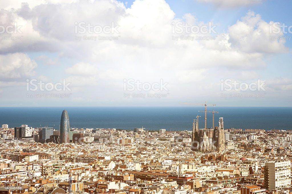 Barcellona panoramic cityscape stock photo