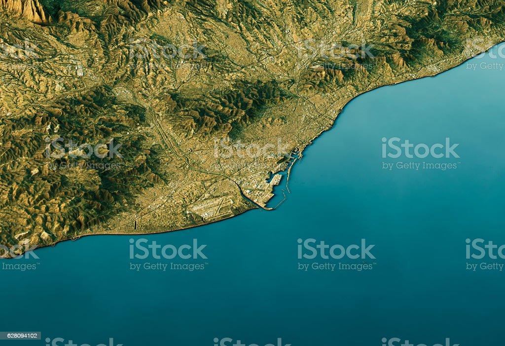 Barcelona 3D Landscape View South-North Natural Color - foto de stock