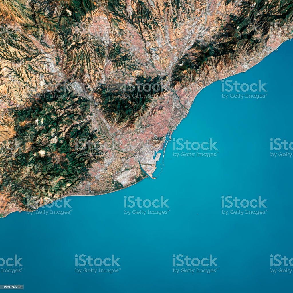 Satellite Map Of Spain.Barcelona 3d Render Satellite View Topographic Map Stock Photo