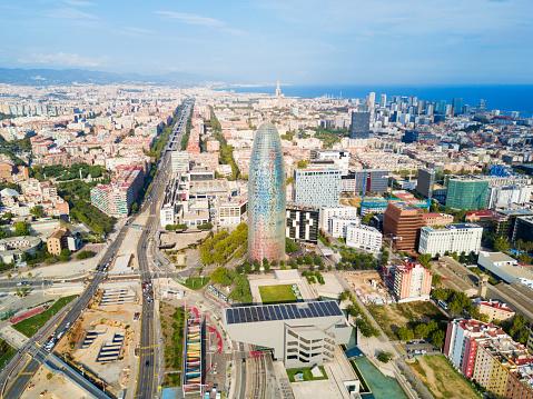 Barcelona aerial panoramic view, Spain