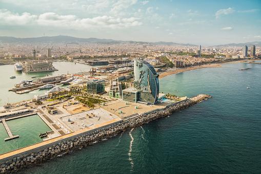 Barcelona aerial, skyline panorama and the beach on sunny afternoon, Spain
