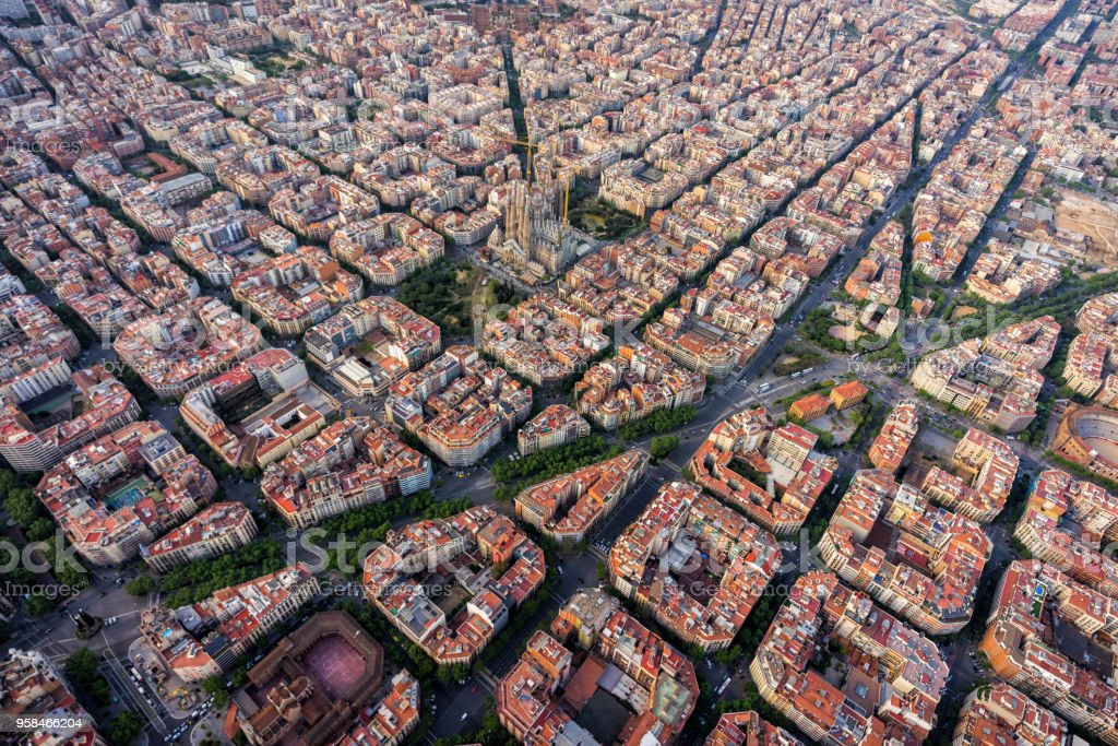 Barcelona Aerial View Eixample Residencial District With Typical