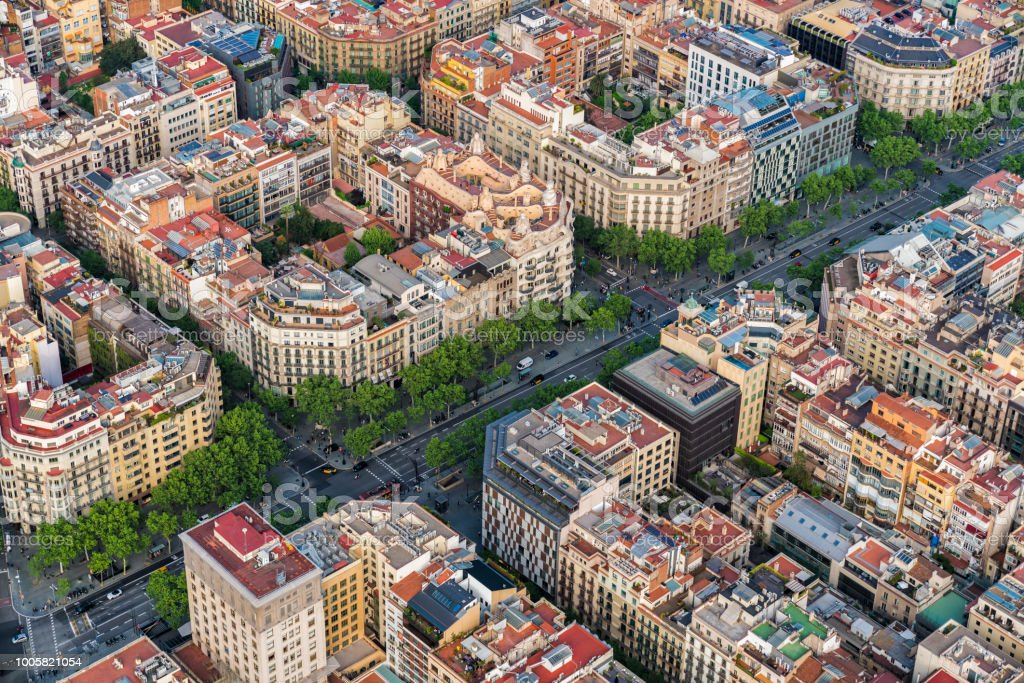Barcelona Aerial View Eixample Residencial Famous Urban Grid Spain