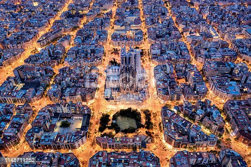 istock Barcelona aerial view from the high 1148711252