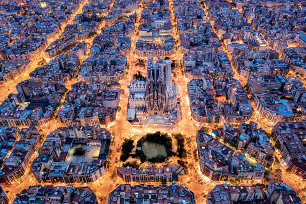 Barcelona aerial view from the high Aerial view of Barcelona with Diagonal Avenue and square blocks and Sagrada Familia barcelona spain stock pictures, royalty-free photos & images