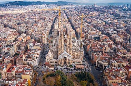 istock Barcelona; aerial view of Temple Expiatori de la Sagrada Familia 1127995264