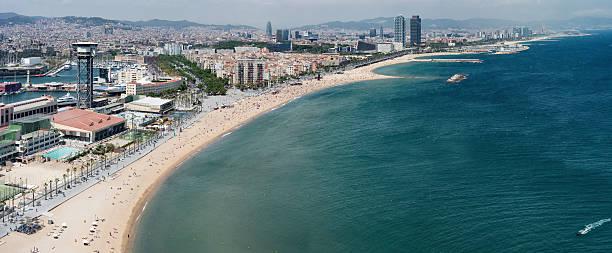 Barcelona playa Vista aérea - foto de stock