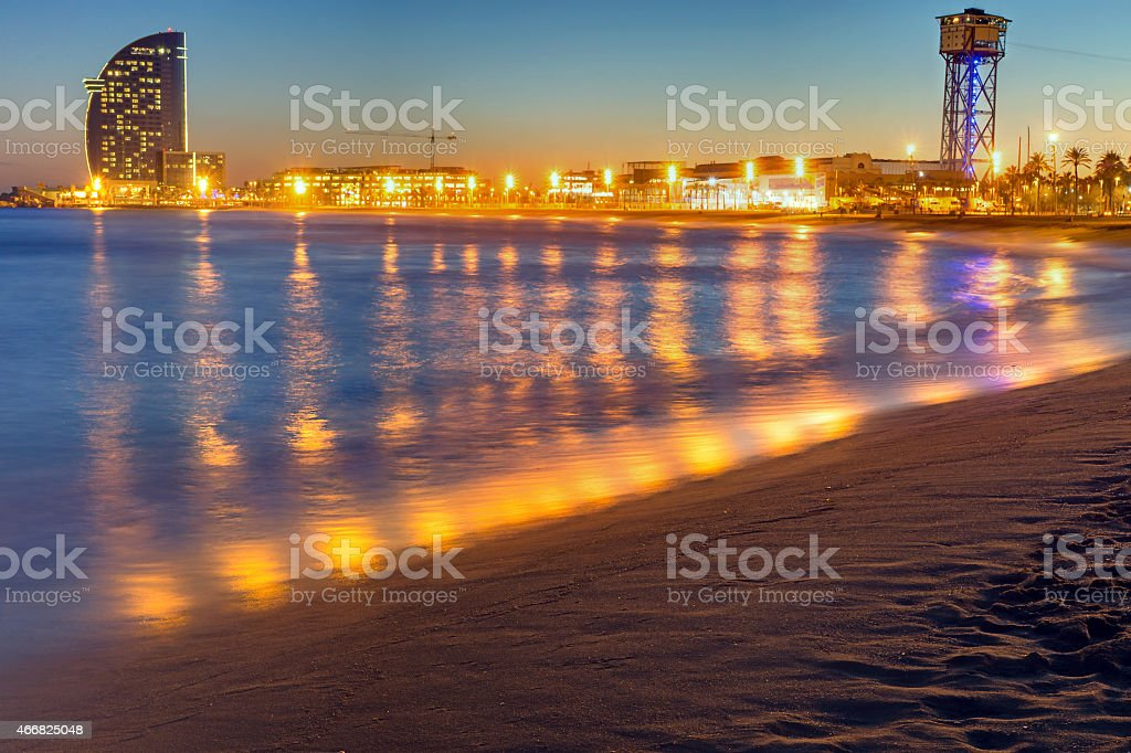 Barcelona beach after sunset stock photo