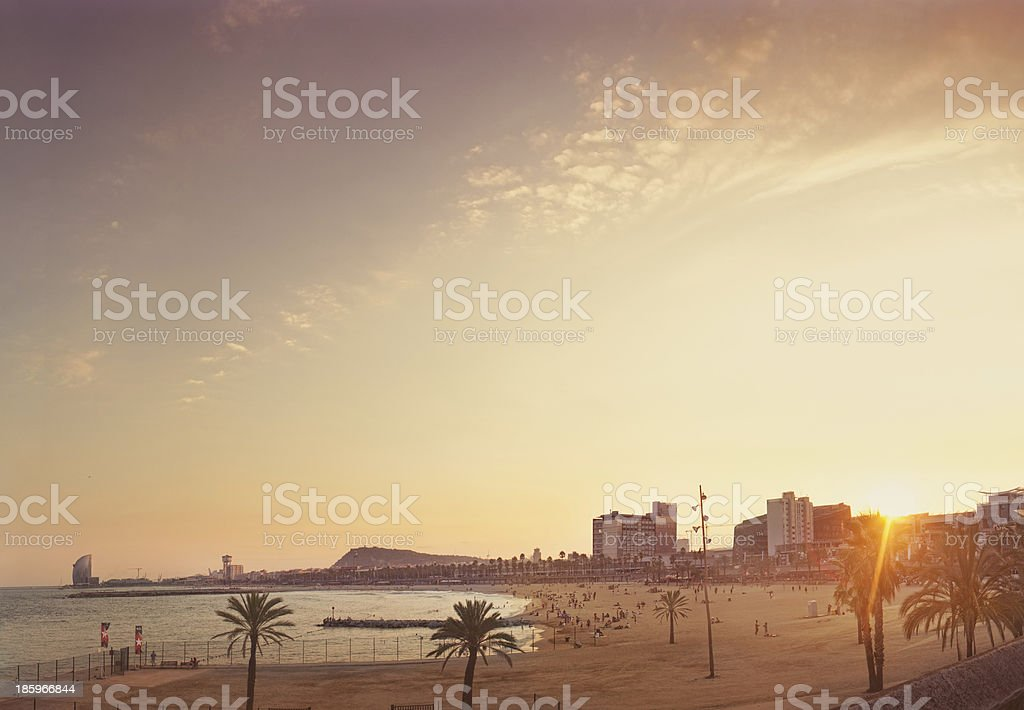 Barcelona Beach and Architecture royalty-free stock photo
