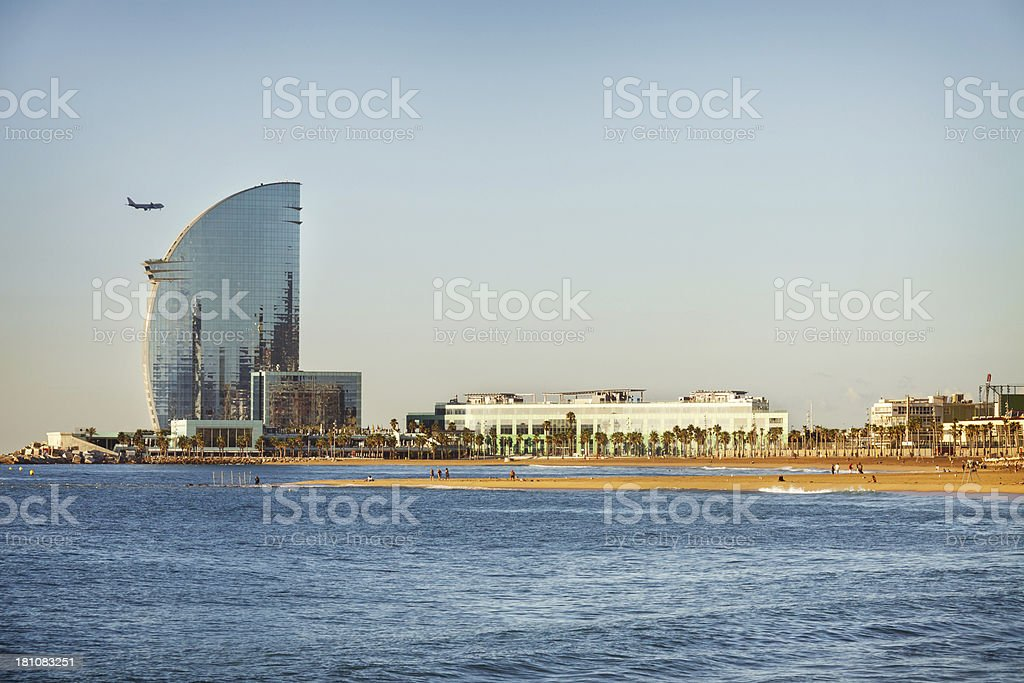 Barcelona beach and skyline stock photo
