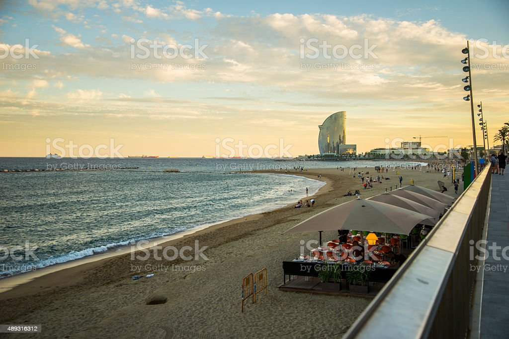 Barcelona, área de la playa - foto de stock