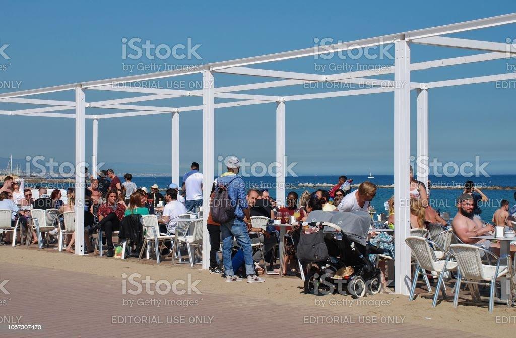 Barcelona beach bar stock photo