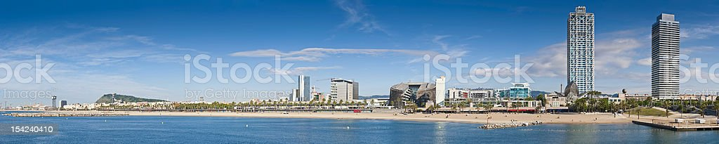 Barcelona beach La Barceloneta Port Olímpic Mediterranean panorama Catalonia Spain stock photo