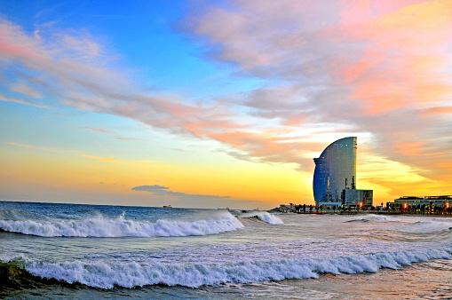 Barcelona beach on sunset, Catalonia, Spain
