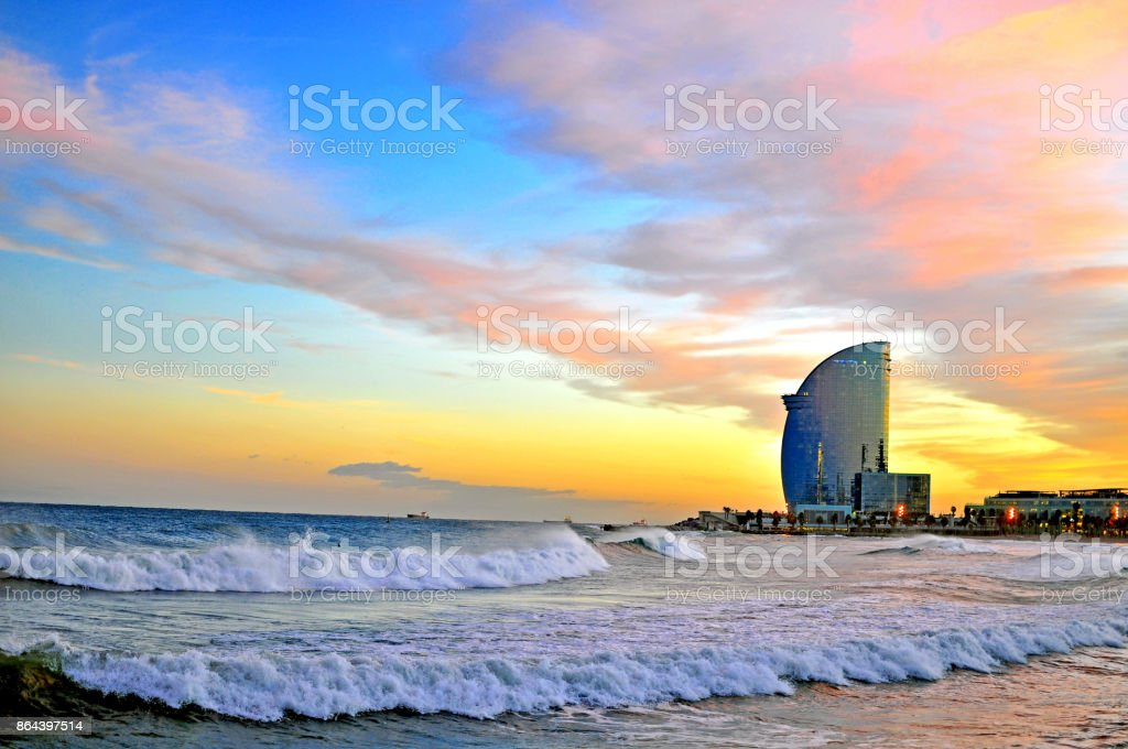 Barcelona beach on sunset, Catalonia, Spain stock photo