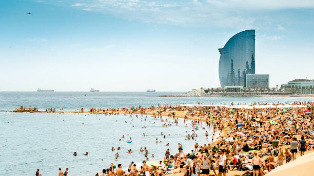 Barcelona Beach Panorama - foto de stock