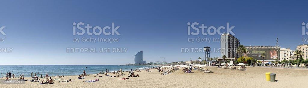 Barcelona beach panorama, Spain stock photo