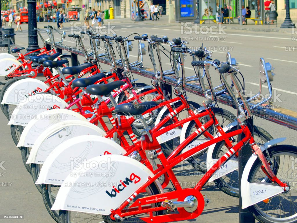 A Barcelona bicycle hire station. stock photo