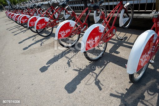 Barcelona, Spain - June 20, 2017: Parked bicycles await Barcelona users