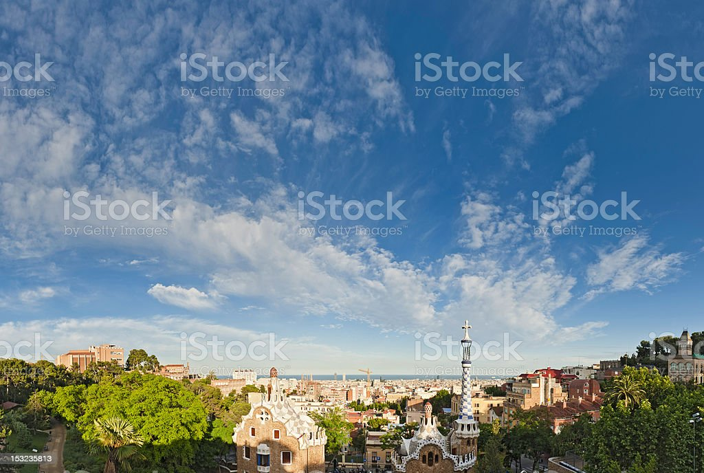 Barcelona big summer sky over Parc Güell Gaudí houses Spain stock photo
